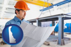 delaware map icon and a construction engineer