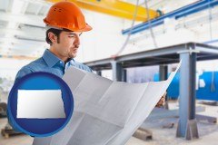 north-dakota map icon and a construction engineer
