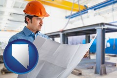 nevada map icon and a construction engineer