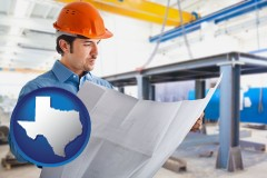 texas map icon and a construction engineer